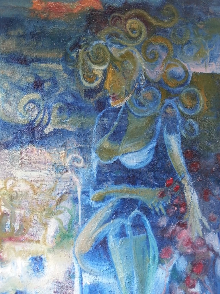 Contemporary Art New Release by Todd Krasovetz Oil on Canvas Title Woman with Her Flowers After a Storm